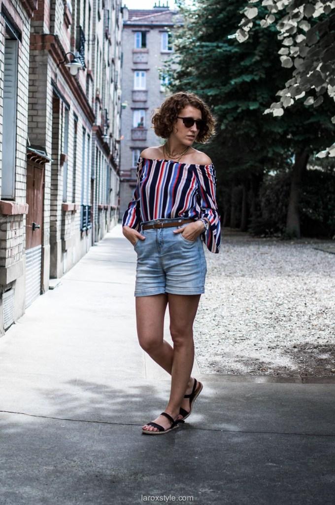 look top Bardot et Short denim - blog mode lyon
