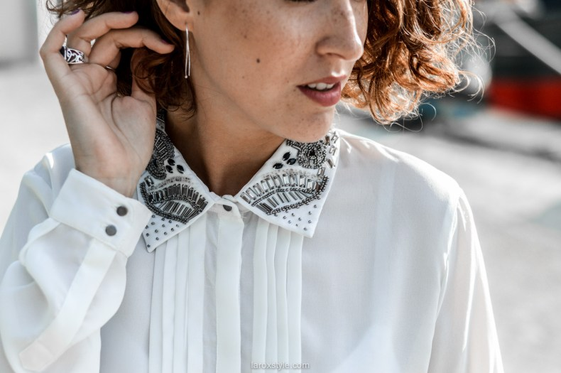 look working girl - jupe simili cuir - chemise strass - laroxstyle blog mode lyon-14