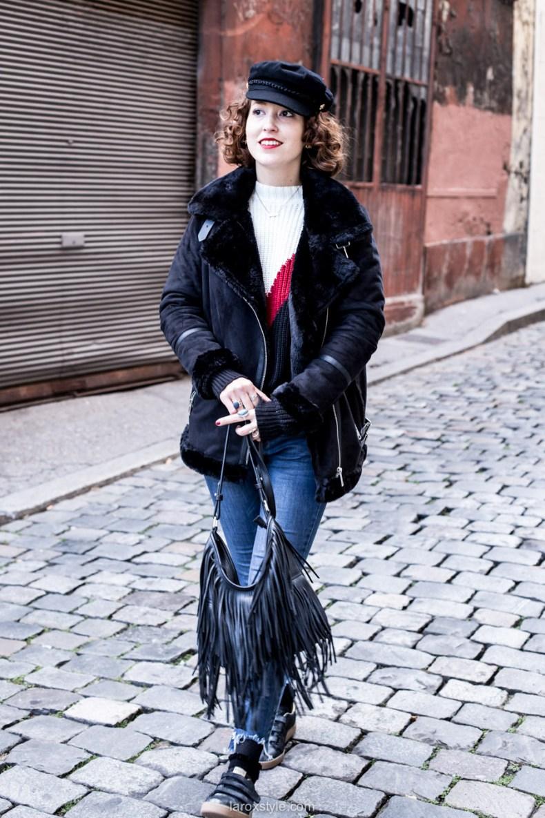 street look - gavroche - manteau motard noir - blog mode lyon - baskets serafini - laroxstyle