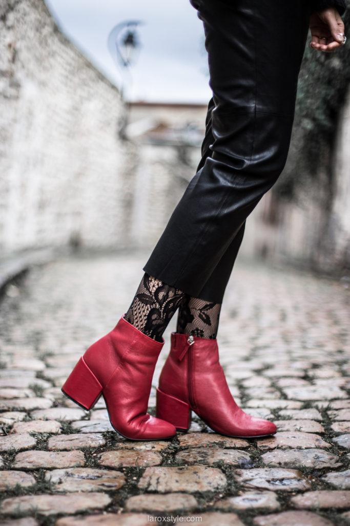 look pantalon en cuir - chaussures rouge - tendance résille - blog mode ©laroxstyle