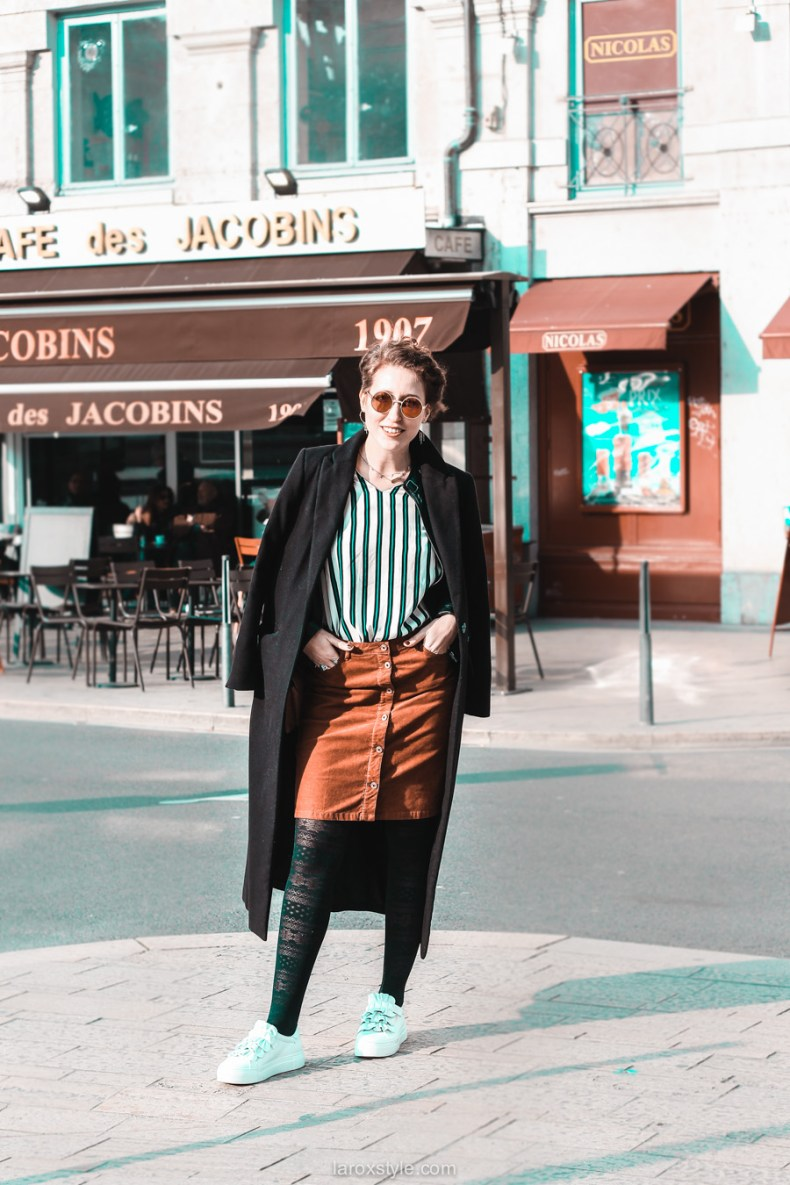 jupe velours cotele - top rayures - look vintage - destockage en ligne - modz - blog mode lyon - © laroxstyle-2