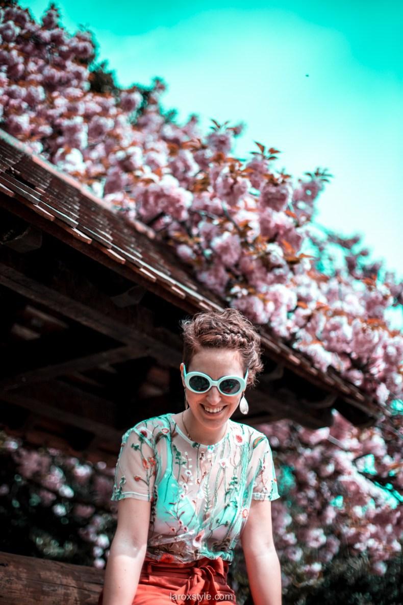 blossom party au Parc de la tete d or - look printemps - look fleuri - blog mode lyon - laroxstyle -1