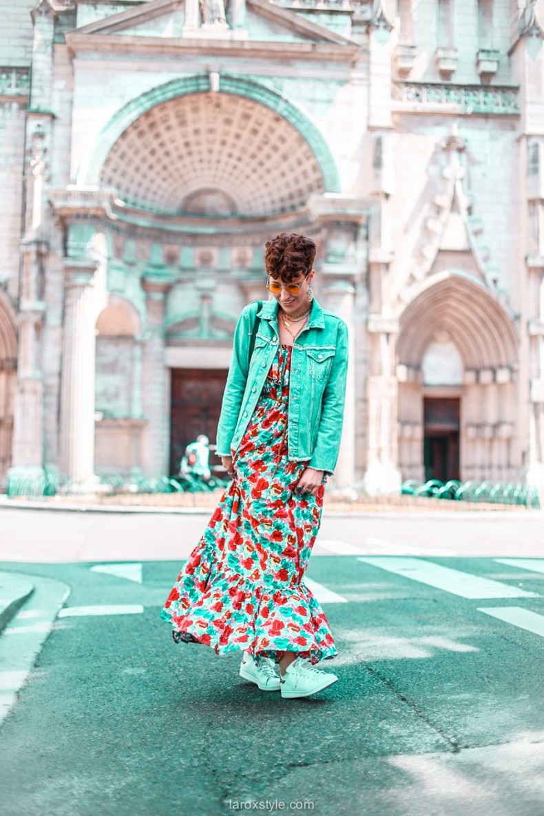 look festival - robe longue fleurie - stan smith - nuits sonores day 1 -13