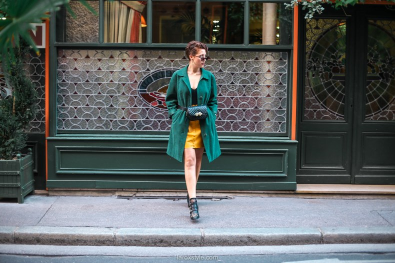 blog mode - look trench vert - jupe moutarde -17