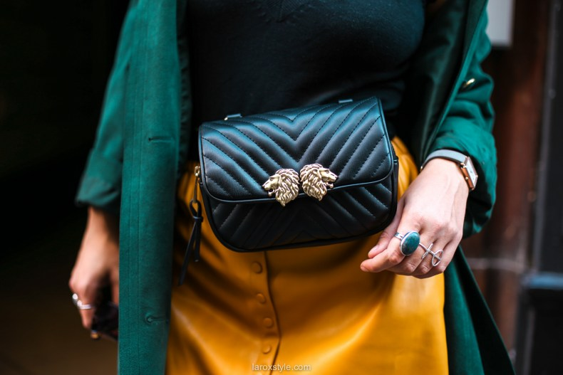 blog mode - look trench vert - jupe moutarde -20