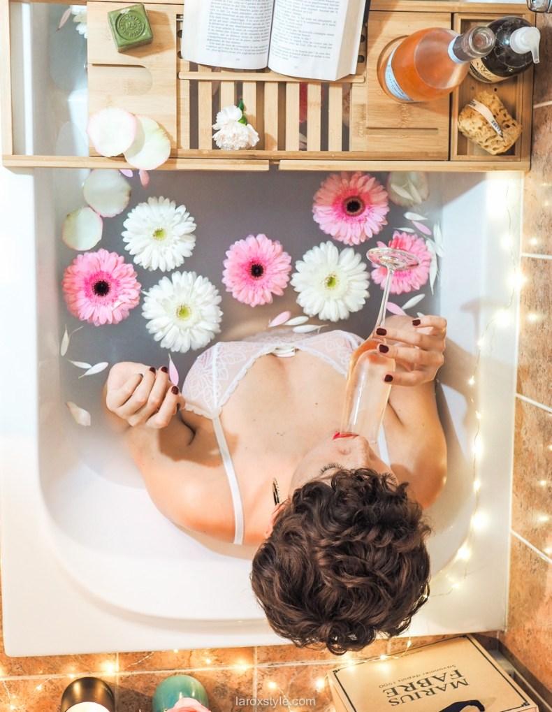 shooting bain fleurs et champagne
