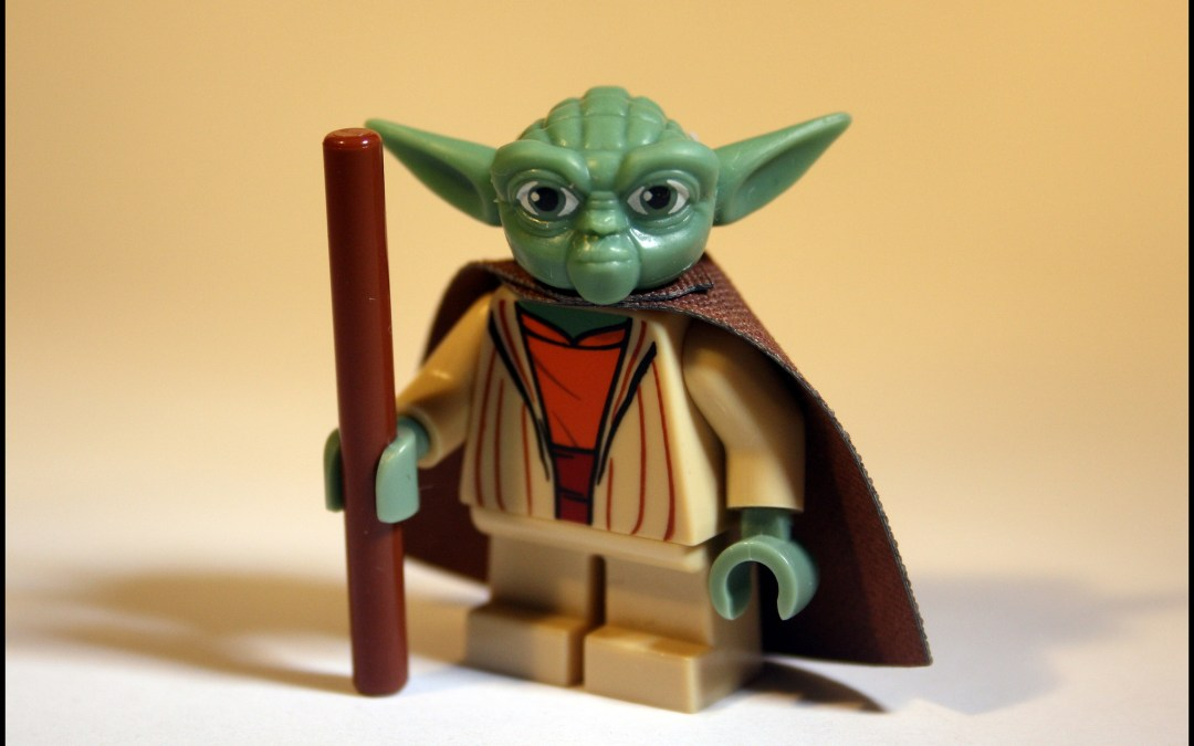 Yoda with a walking stick