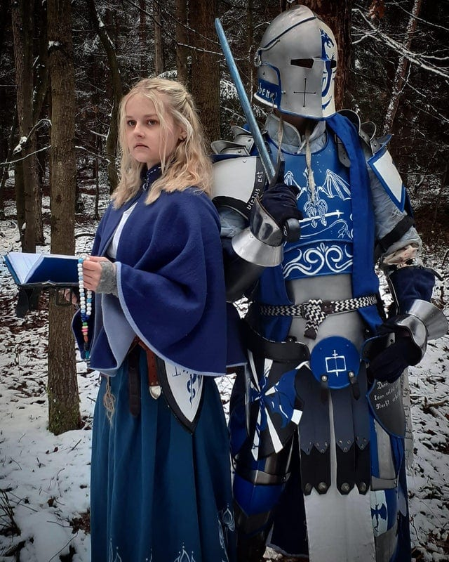 Blue Knight and Mage In The Woods