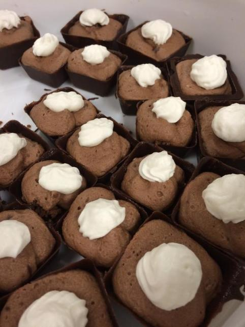 chocolate cups with oreo crumble, nutella-mascarpone mousse and fresh whipped cream.
