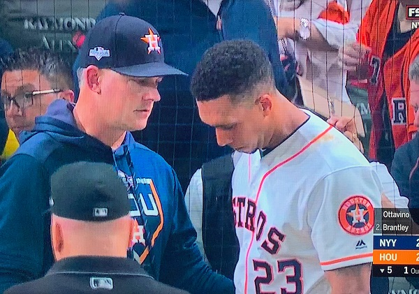 Michael Brantley emotional after foul ball hits security guard