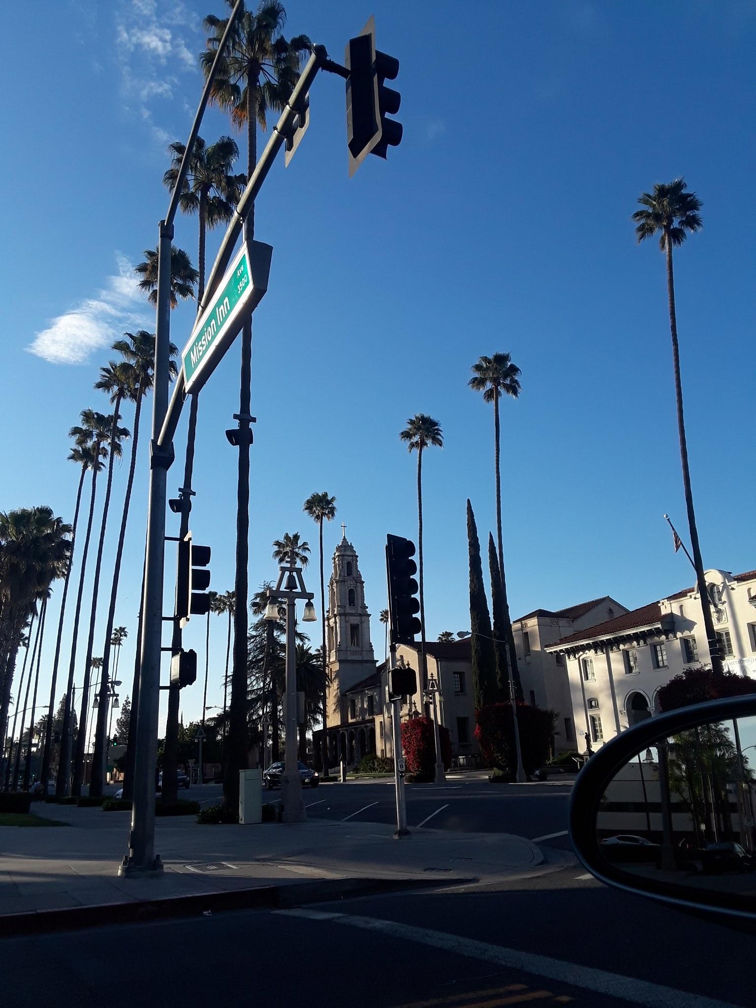 street corner palm trees and raincross logo
