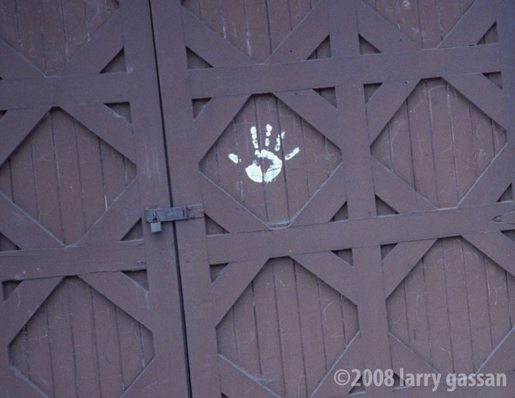 palmprint on garage door, 1979
