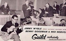 photograph montage advertisement featuring Jimmy Wyble in Guild Guitar ad from 1961