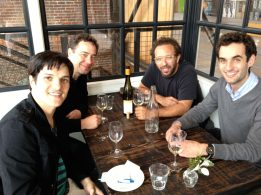 photo of Larry Koonse Lunching with Chico Pinheiro, Anthony Wilson, and Julian Lage while On Tour