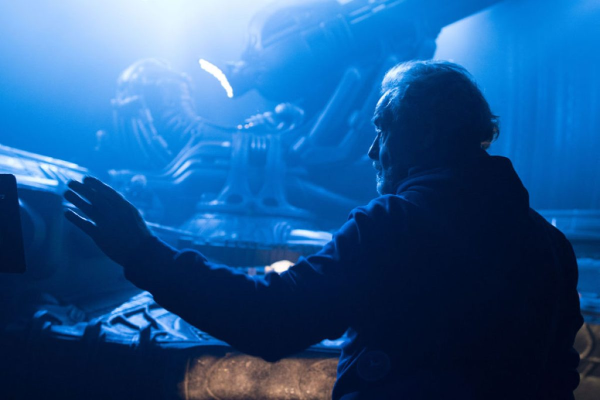 Director Ridley Scott on the set of ALIEN: COVENANT