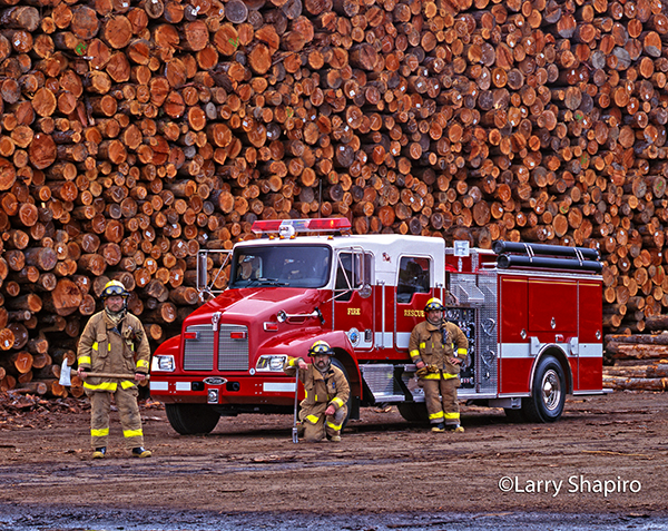 Kenworth fire engine at lumber mill
