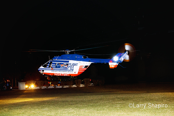 Flight For Life helicopter at night