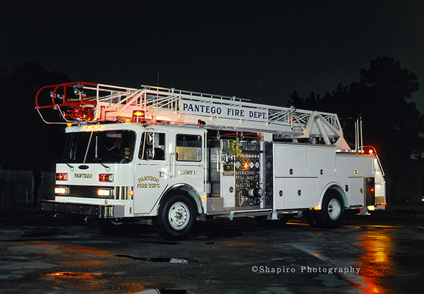 white fire truck at night