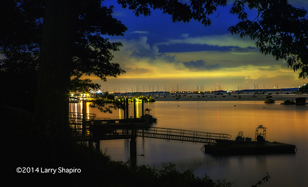 Milton Harbor at night