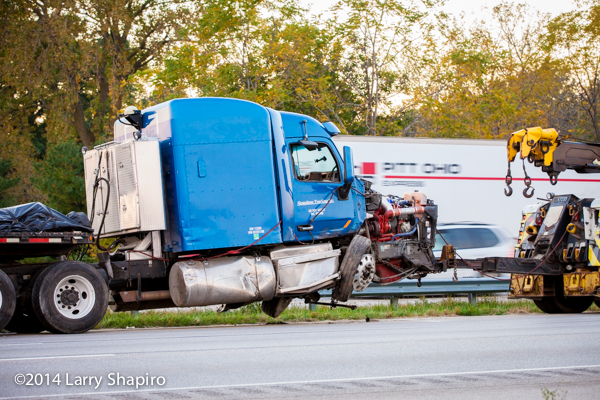 Peterbilt tractor crushed in accident