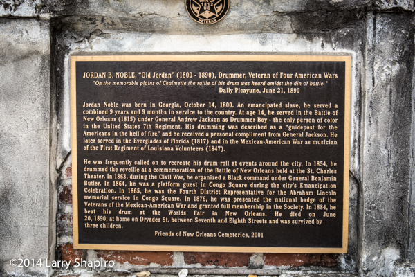 historic marker in the St Louis Cemetery New Orleans