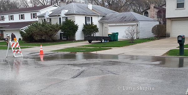 street buckles from water main break