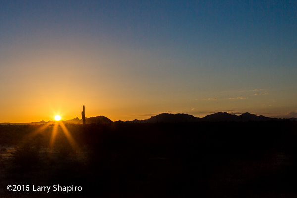 sun rising over Arizona mountains