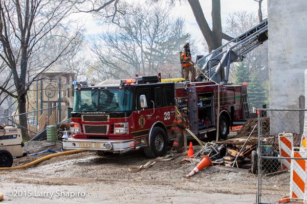 fire truck at fire scene