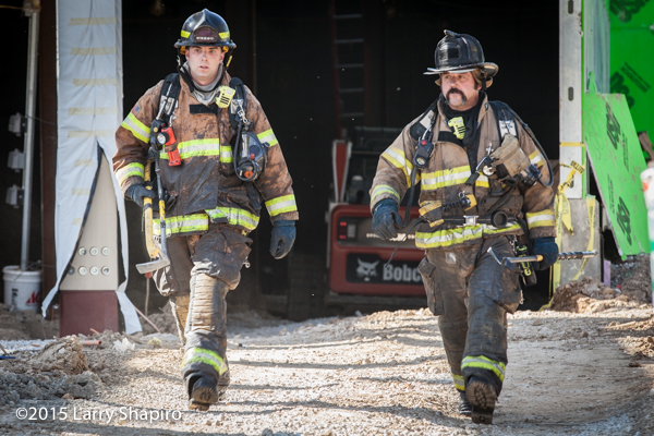 Firefighters after fighting a fire
