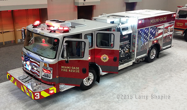 Miami Dade Fire Rescue Engine 3 features a memorial to the 343 FDNY members that were killed on 9/11/01. ©Larry Shapiro