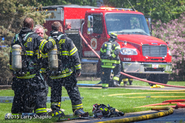 firemen at a fire scene