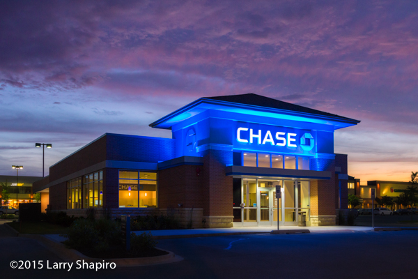 Chase Bank branch at dusk