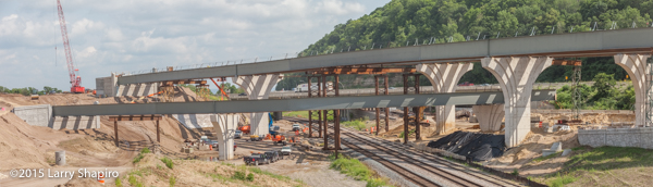 temporary steel supports for new highway ramp