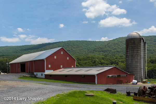 dairy barn with silo