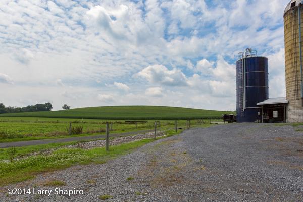 rolling farm field in Pennsylvania with silo