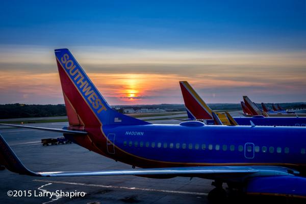 sunset at the Baltimore Washington Airport