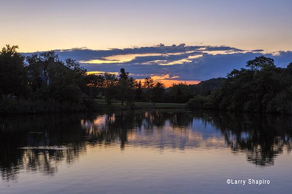 beautiful sunset reflected on a lake