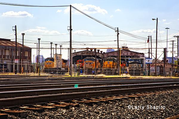 Locomotives in a rail yard