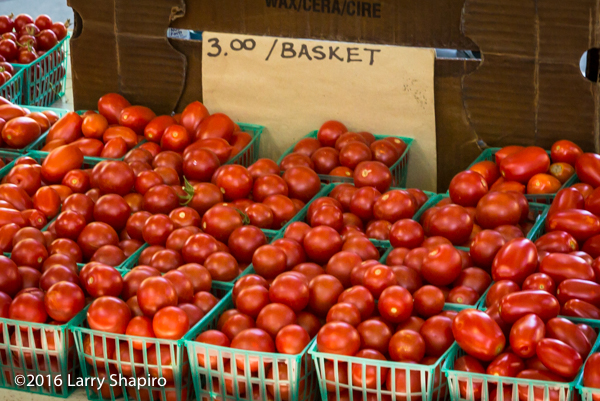 loads of fresh tomatoes at a farmer's market