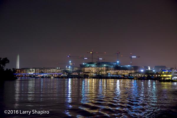 Washington DC marina from the Washington Channel at night