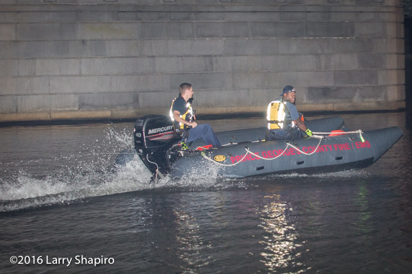 PGFD Zodiac fire boat on the water