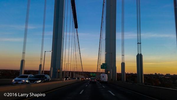 sunset along the Whitestone Bridge