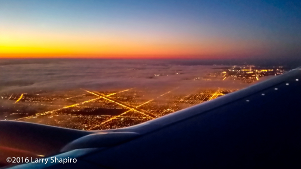 Sunrise over Chicago from an Southwest airplane window
