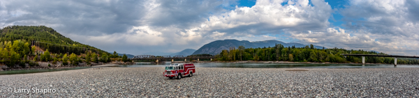 fire engine in the middle of a dry riverbed in Terrace BC