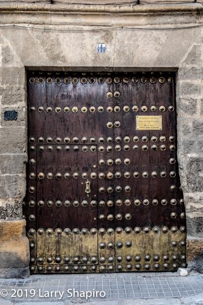 huge ornate door in Seville Spain