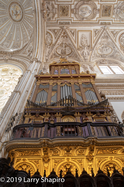 organ pipes inside the Cathedral Mosque in Cordoba