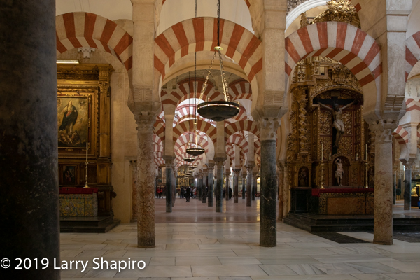 columns inside the Cathedral Mosque in Cordoba