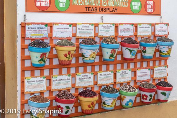 variety of teas on display in Cordoba