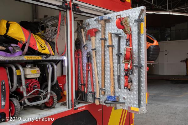 equipment carried on an iturri pumper in Granada Spain bomberos
