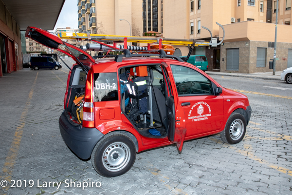 mini fire vehicle in a car for historic city